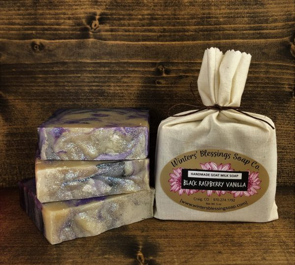 Packaged and not packaged Black Raspberry Vanilla Goat Milk Soap