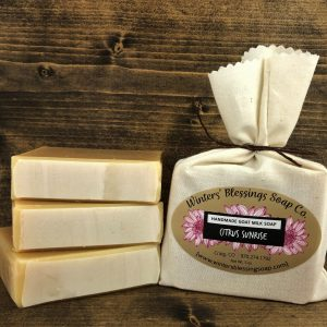 Packaged and not packaged Citrus Sunrise Goat Milk Soap
