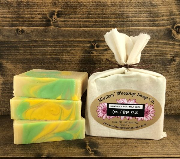 Packaged and non packaged cool citrus basil goat milk soap