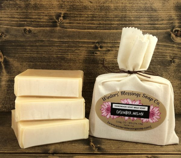 Packaged and not packaged Cucumber Melon Goat Milk Soap