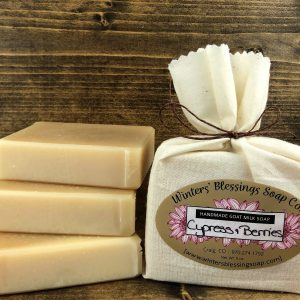 Packaged and not packaged Cypress & Berries Goat Milk Soap