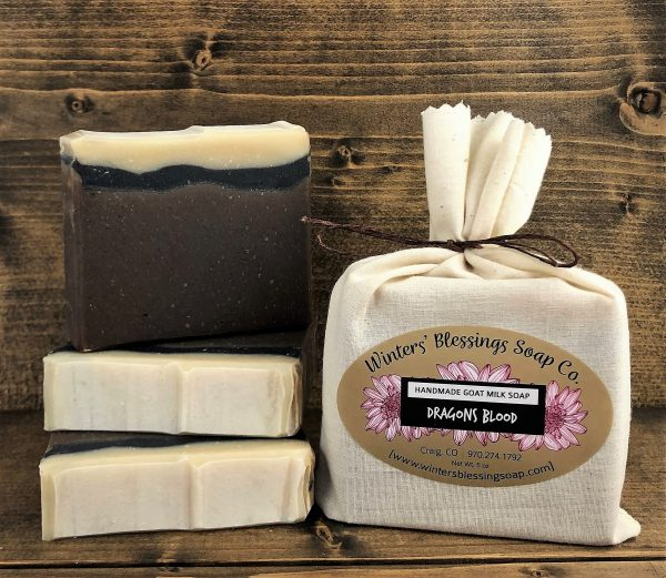 Packaged and not packaged Dragon's Blood Goat Milk Soap