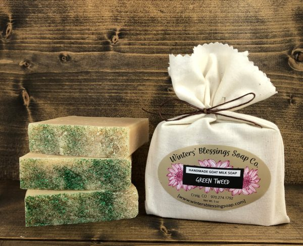 Packaged and not packaged Green Irish Tweed Goat Milk Soap