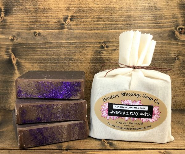 Packaged and not packaged Lavender and Black Amber Goat Milk Soap