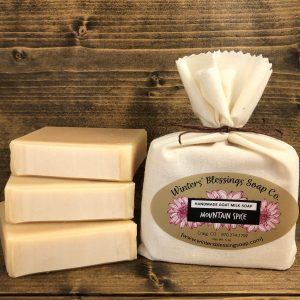 Packaged and not packaged Mountain Spice Goat Milk Soap