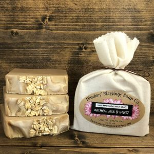 Packaged and not packaged Oatmeal Milk & Honey Goat Milk Soap