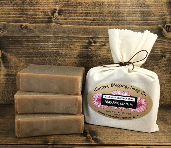 Packaged and not packaged Pineapple Cilantro Goat Milk Soap