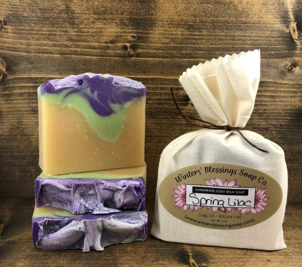 Packaged and not packaged Spring Lilac Goat Milk Soap