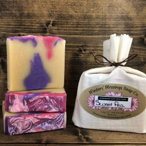 Packaged and not packaged Sweet Pea Goat Milk Soap