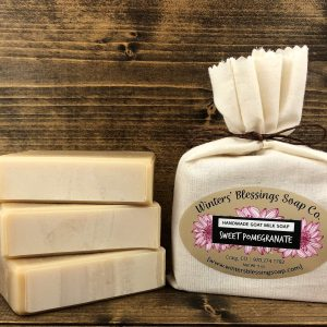 Packaged and not packaged Sweet Pomegranate Goat Milk Soap