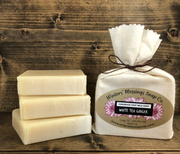 Packaged and not packaged White Tea & Ginger Goat Milk Soap